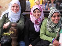 Three girls, souk, Cairo