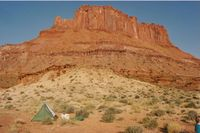 Tent and butte, Canyonlands-Ellen Perlman