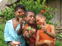 Fiji, 3 boys, Navala village 306