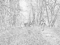 Christmas Day hike, pencil sketch