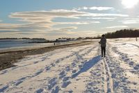 Skiing on Crescent Beach, Cape Elizabeth, Maine, Credit Sheara Seigal