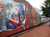 Mural of Red Bank in Riverside Gardens Park, boldlygosolo